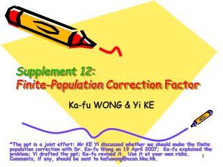 Supplement 12: Finite-Population Correction Factor