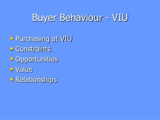 Buyer Behaviour - VIU