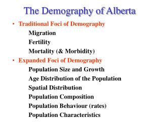 The Demography of Alberta