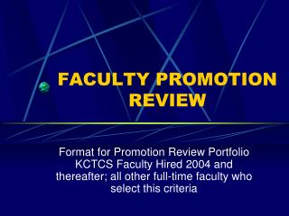 FACULTY PROMOTION REVIEW