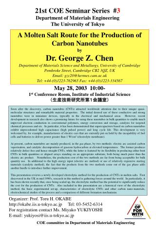 21st COE Seminar Series  # 3 Department of Materials Engineering The University of Tokyo