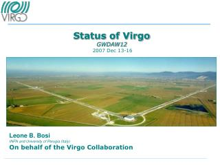 Status of Virgo GWDAW12  2007 Dec 13-16