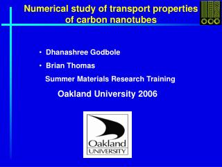 Numerical study of transport properties of carbon nanotubes