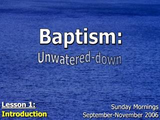 Sunday Mornings September-November 2006