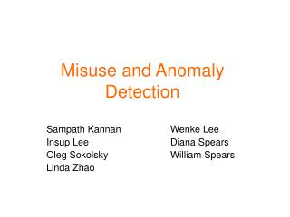 Misuse and Anomaly Detection
