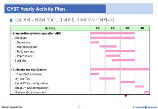 CY07 Yearly Activity Plan