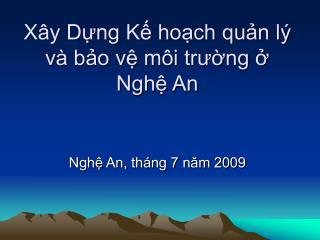 Xây Dựng Kế hoạch quản lý và bảo vệ môi trường ở  Nghệ An