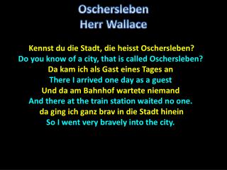 Kennst du die Stadt, die heisst Oschersleben?