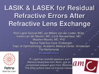 LASIK & LASEK for Residual Refractive Errors After Refractive Lens Exchange