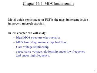Chapter 16-1. MOS fundamentals