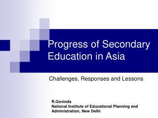 Progress of Secondary Education in Asia