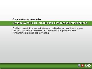 MEMBRANA CELULAR, CITOPLASMA E PROCESSOS ENERGÉTICOS