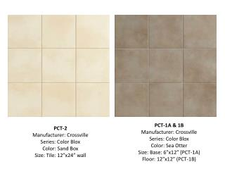 "PCT-2 Manufacturer: Crossville Series: Color  Blox Color: Sand Box Size: Tile: 12""x24"" wall"