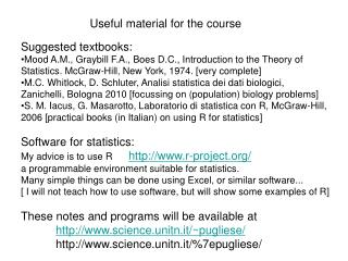 Useful material for the course