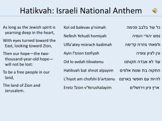 Hatikvah : Israeli National Anthem