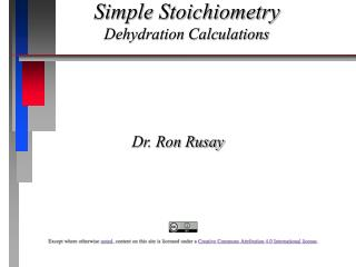 Simple Stoichiometry Dehydration Calculations