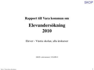 Rapport till Vara kommun om