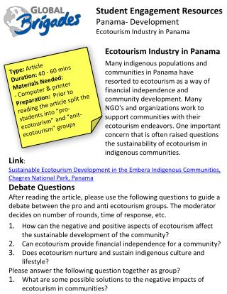 Student Engagement Resources Panama- Development Ecotourism Industry in Panama