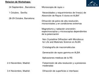 Relacion de Workshops:       24 Septiembre , Barcelona:          Microscopia de rayos x