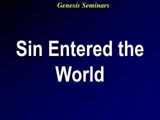 Sin Entered the World