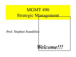 MGMT 490 Strategic Management