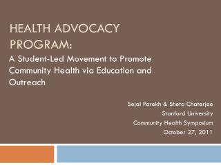Health Advocacy Program: