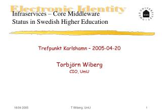 Infraservices � Core Middleware Status in Swedish Higher Education