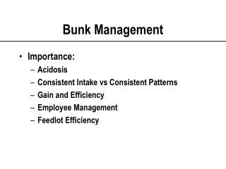 Bunk Management