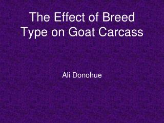 The Effect of Breed Type on Goat Carcass