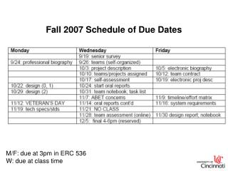 Fall 2007 Schedule of Due Dates