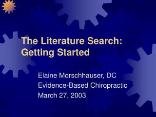 The Literature Search: Getting Started