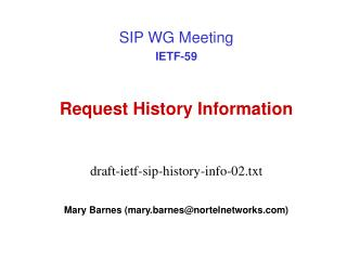 Request History Information