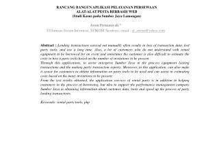 Awan Firmansyah  1) S1/ Jurusan Sistem Informasi , STIKOM  Surabaya, email :  af_awens @yahoo