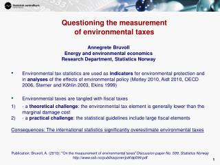 Questioning the measurement  of environmental taxes