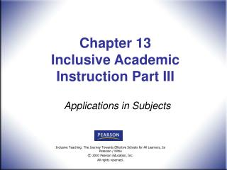 Chapter 13  Inclusive Academic Instruction Part III