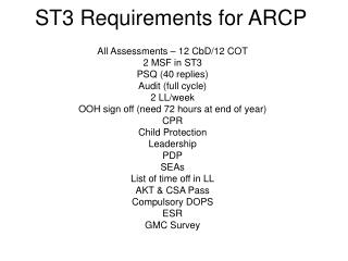 ST3 Requirements for ARCP
