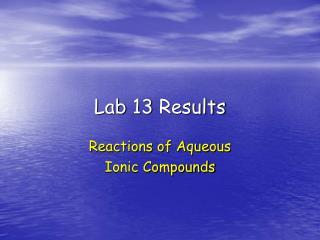 Lab 13 Results
