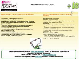 LAN-ESKAINTZAK  /OFERTAS DE TRABAJO