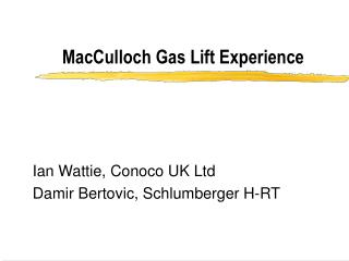 MacCulloch Gas Lift Experience