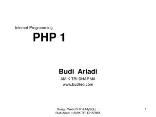Internet Programming PHP 1