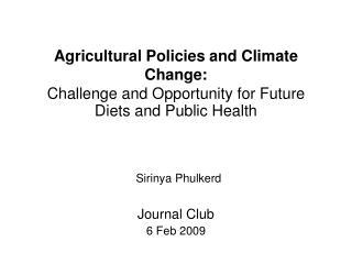Journal Club 6 Feb 2009