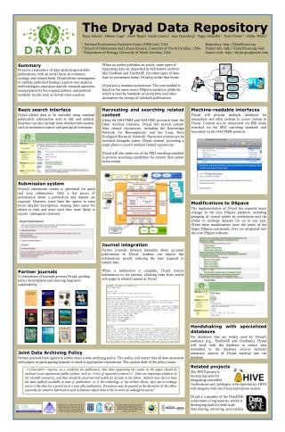 The Dryad Data Repository