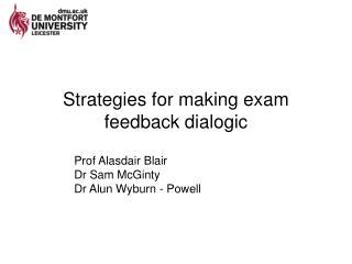 Strategies for making exam feedback dialogic