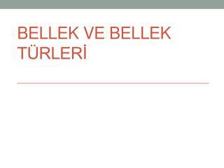 BELLEK VE BELLEK TÜRLERİ