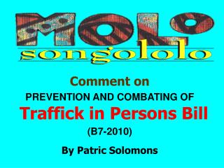 Comment on PREVENTION AND COMBATING OF  Traffick in Persons Bill (B7-2010) By Patric Solomons