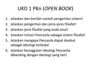 UKD 1 PKn ( OPEN BOOK )