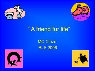 """"""" A friend fur life"""""""