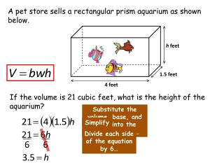 A pet store sells a rectangular prism aquarium as shown below.