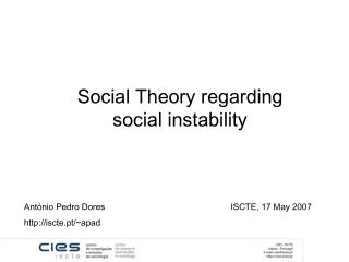 Social Theory regarding social instability