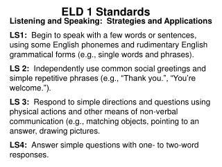 ELD 1 Standards
